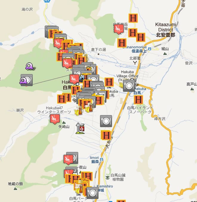 Hakuba Accommodation Google Map