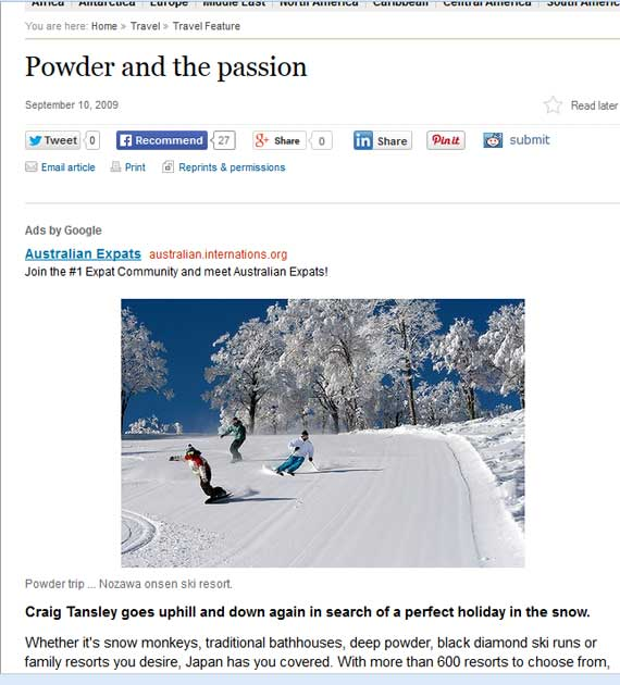 SMH - The Powder and the Passion - Media & Press - Heart of Japan