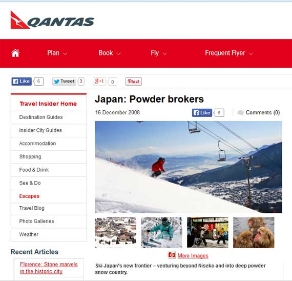 Japan Powder Brokers - Qantas - Myoko-Nagano media