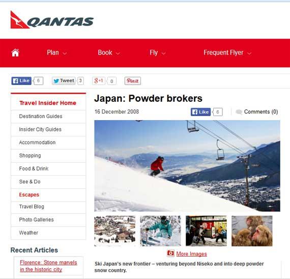 Japan Powder Brokers - Qantas - Myoko-Nagano media